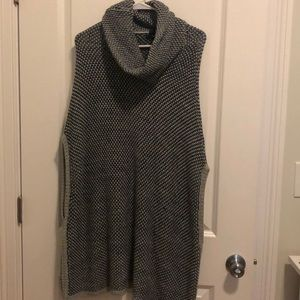 Grey and black sweater poncho